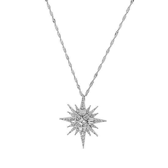 Diamonart Womens 1 3/4 CT. T.W. White Cubic Zirconia Sterling Silver Star Pendant Necklace