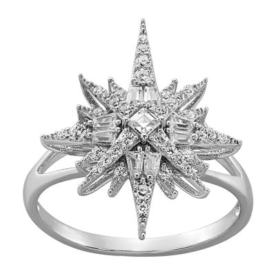 Diamonart Womens White Cubic Zirconia Sterling Silver Star Cocktail Ring
