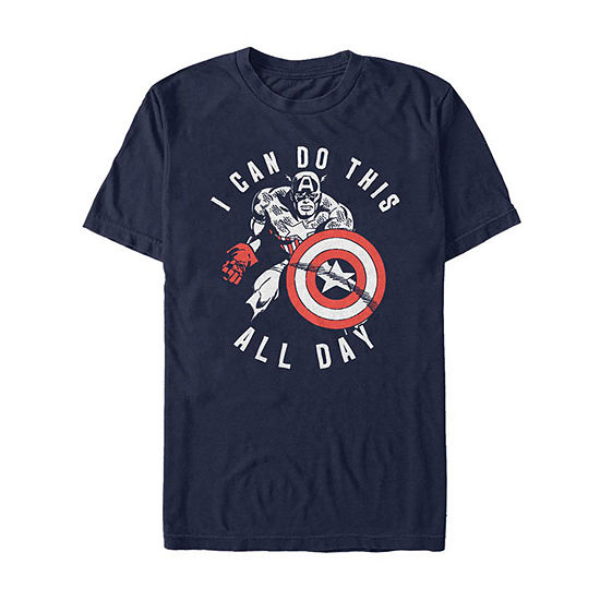 I Can Do This All Day Mens Crew Neck Short Sleeve Captain America Graphic T-Shirt
