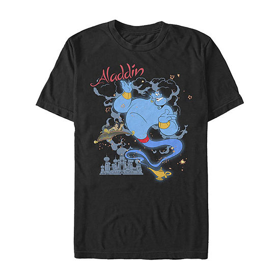 Slim Genie Sparkle Mens Crew Neck Short Sleeve Aladdin Graphic T-Shirt