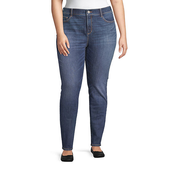 St. John's Bay - Plus Secretly Slender Womens Skinny Fit Jean