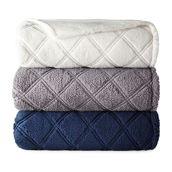 North Pole Trading Co. Quilted Sherpa Blanket