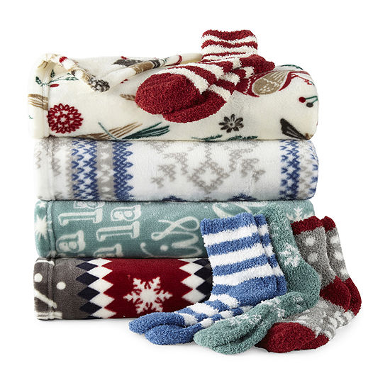 North Pole Trading Co. Throw and Sock Set
