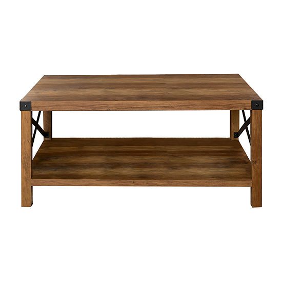 Metal X Rustic Wood Coffee Table