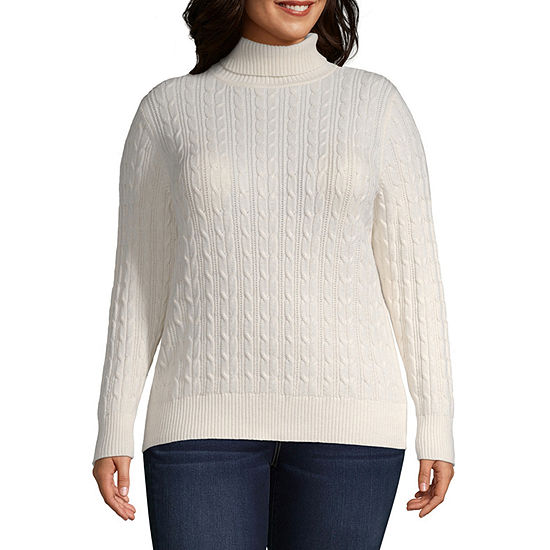 St. John's Bay-Plus Womens Turtleneck Long Sleeve Pullover Sweater