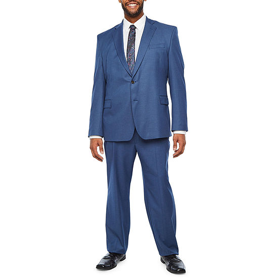 JF J. Ferrar Ultra Comfort Slate Blue Big and Tall Suit Separates