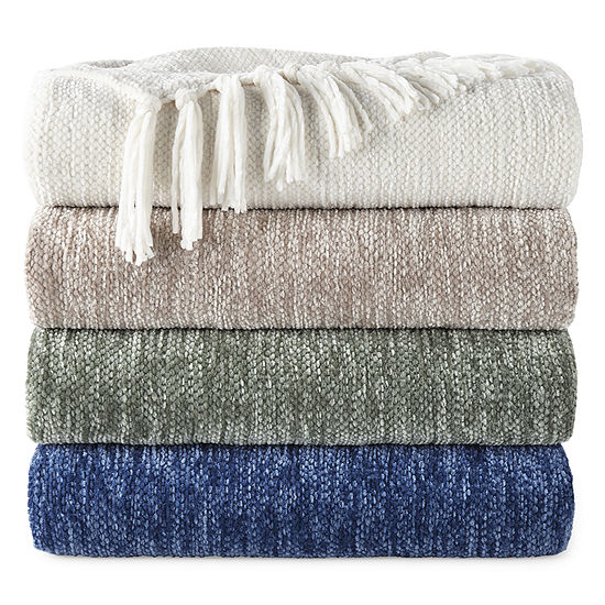JCPenney Home Chenille Fringe Throw
