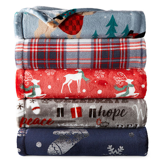 North Pole Trading Co. Velvet Plush Holiday Print Throw