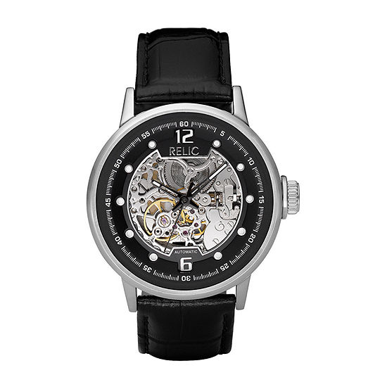 Relic By Fossil Mens Automatic Black Leather Strap Watch-Zr77224