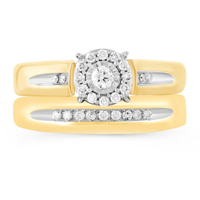 Womens 1/4 CT. T.W. Genuine Diamond 10K Gold Bridal Set