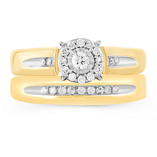 Womens 1/4 CT. T.W. Genuine Diamond 10K Gold Bridal Set