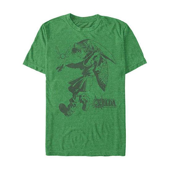 Slim Majoras Mask Link Sketch Mens Crew Neck Short Sleeve Zelda Graphic T-Shirt