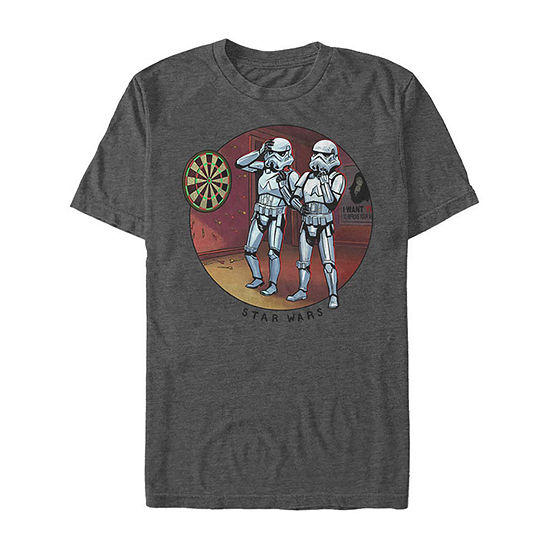 Slim Funny Stormtroopers Playing Darts Mens Crew Neck Short Sleeve Star Wars Graphic T-Shirt