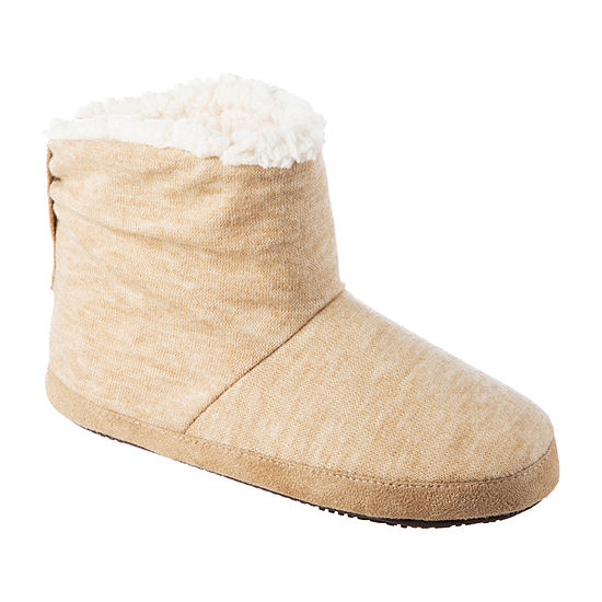 Isotoner Heathered Knit Womens Bootie Slippers