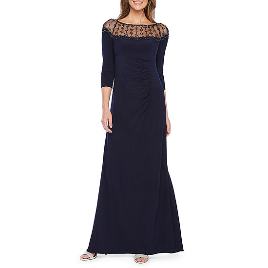 DJ Jaz 3/4 Sleeve Embellished Evening Gown