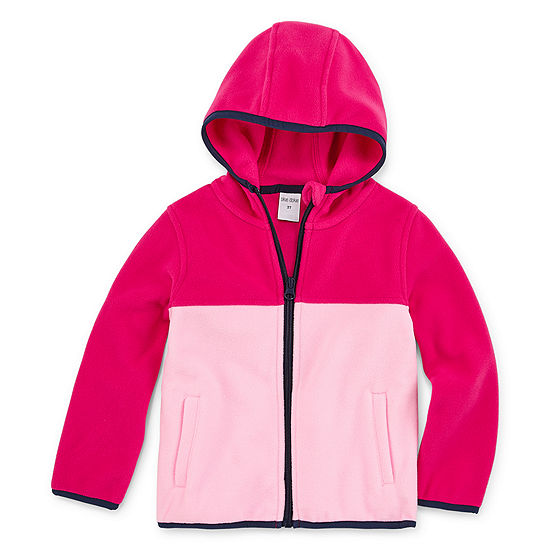 Okie Dokie Girls Polar Fleece Hooded Lightweight Jacket-Toddler