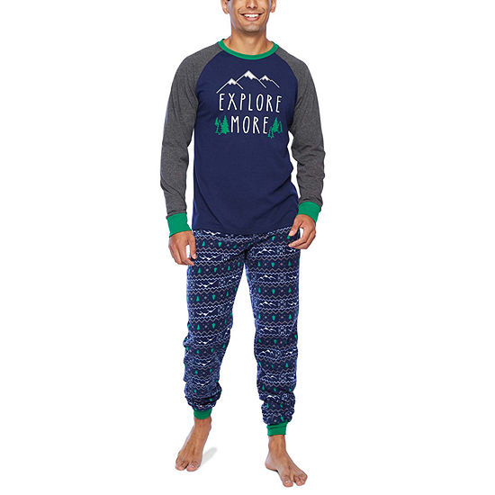 Holiday #Famjams Explore Family Mens 2-pc. Pant Pajama Set
