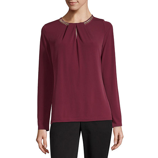 Liz Claiborne Womens Round Neck Long Sleeve Embellished Blouse