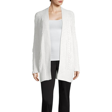 Liz Claiborne Womens Long Sleeve Open Front Cardigan, X-small , Gray