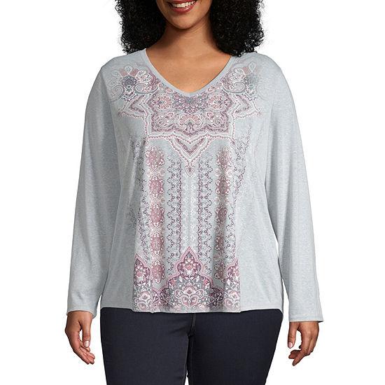 St. John's Bay Active Plus-Womens V Neck Long Sleeve T-Shirt
