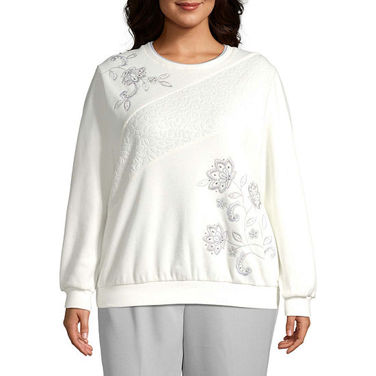 Alfred Dunner Plus Lake Geneva-Womens Crew Neck Long Sleeve T-Shirt