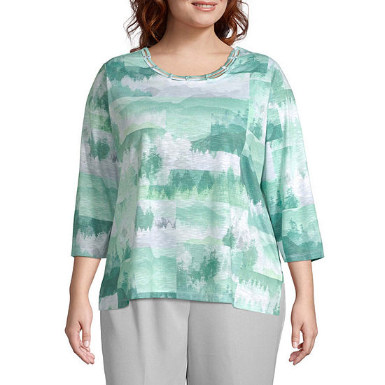 Alfred Dunner Plus Lake Geneva Round Neck 3/4 Sleeve -Womens T-Shirt