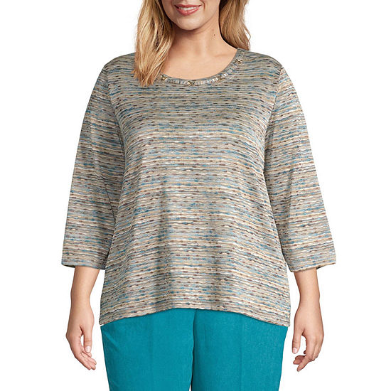 Alfred Dunner Walnut Grove Womens Crew Neck 3/4 Sleeve Knit Blouse-Plus