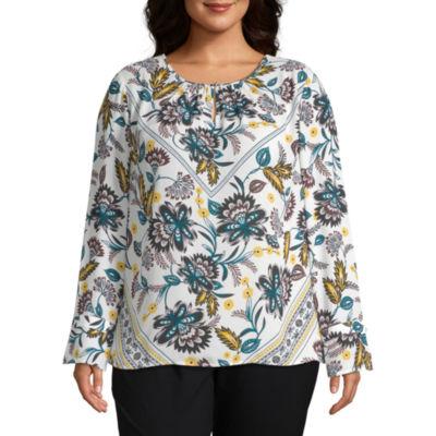 Liz Claiborne Long Sleeve Button Detail Blouse - Plus