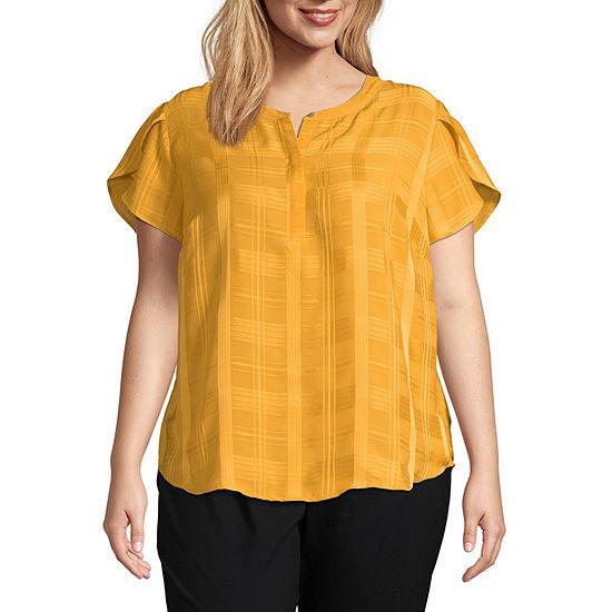 Liz Claiborne Flutter Sleeve Blouse - Plus