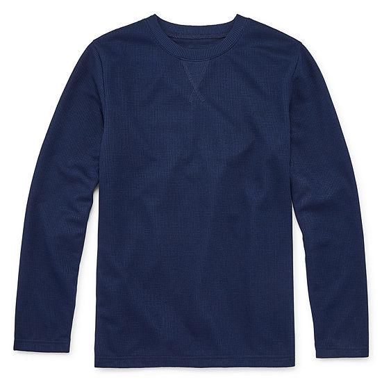Arizona Little & Big Boys Knit Long Sleeve Pajama Top