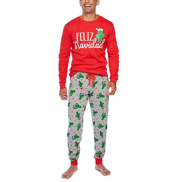 Secret Santa Feliz Navidad Family 2 Piece Pajama Set -Men's