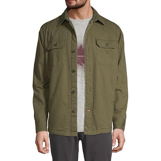 St. John's Bay Outdoor Sherpa Lined Twill Lightweight Shirt Jacket