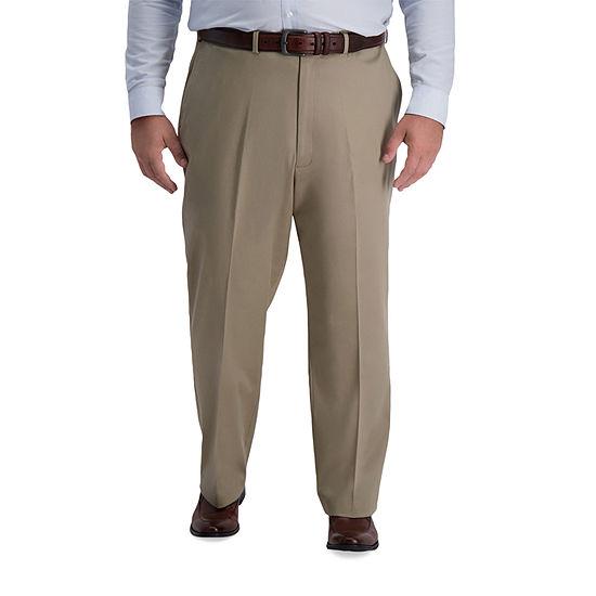 Haggar Big & Tall Iron Free Premium Khaki Classic Fit Flat Front Pant