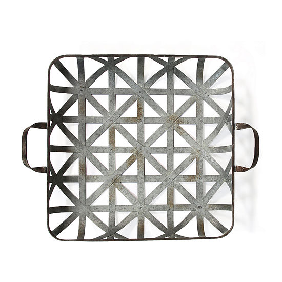 Stratton Home Decor Basket Weave Metal Wall Decor Decorative Tray