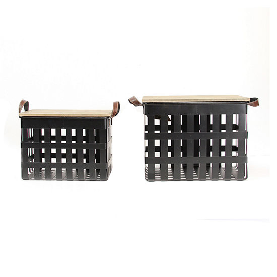 Stratton Home Decor Set Of 2 Metal Storage Baskets With Wood Tops 2-pc. Decorative Box