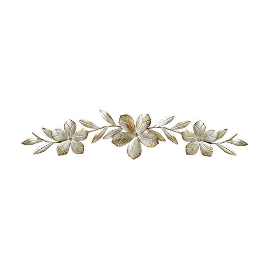 Stratton Home Decor Stratton Home Decor Champagne Flower Over The Door Wall Decor Floral Metal Wall Art