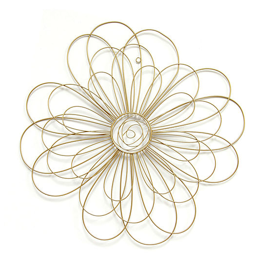 Stratton Home Gold Wire Wall Decor Floral Metal Wall Art