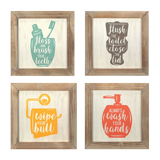 Stratton Home Decor Set Of 4 -Floss Flush Wipe Wash Wall Art Wall Sign