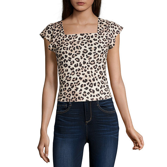 Society And Stitch Womens Straight Neck Short Sleeve Blouse-Juniors