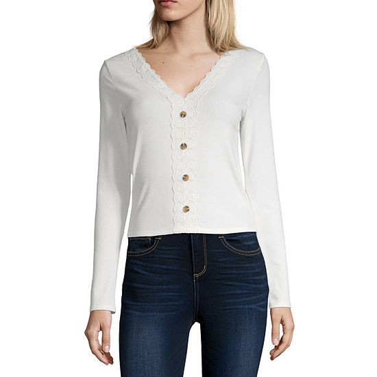 Society And Stitch Womens V Neck Long Sleeve Blouse-Juniors