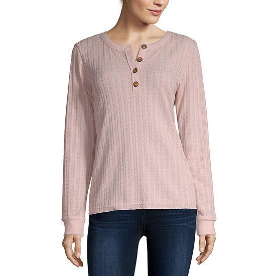 Unionbay-Juniors Unionbay Finland Cable Greta Henley Womens Henley Neck Long Sleeve Henley Shirt