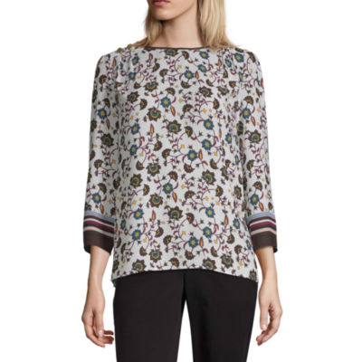 Liz Claiborne Womens Crew Neck Long Sleeve Blouse