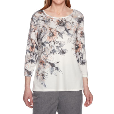Alfred Dunner Boardroom-Womens Round Neck 3/4 Sleeve T-Shirt