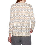 Alfred Dunner Womens Crew Neck Long Sleeve Pullover Sweater