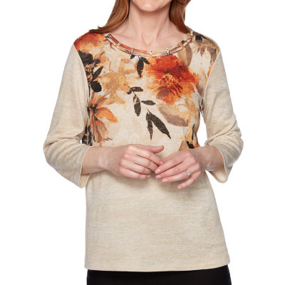 Alfred Dunner Street Smart-Womens Round Neck 3/4 Sleeve T-Shirt