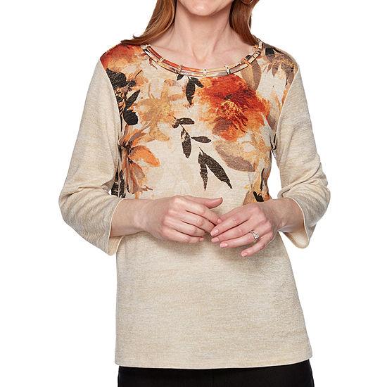 Alfred Dunner Street Smart-Womens Round Neck 3/4 Sleeve T-Shirt