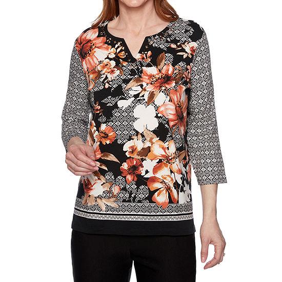 Alfred Dunner Street Smart-Womens Split Crew Neck 3/4 Sleeve T-Shirt