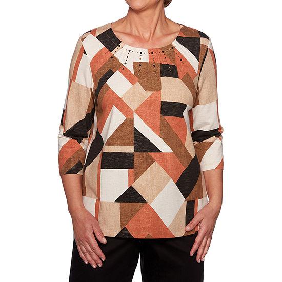 Alfred Dunner Street Smart-Womens Crew Neck 3/4 Sleeve T-Shirt