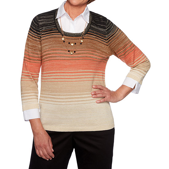 Alfred Dunner Street Smart Womens 3/4 Sleeve Ombre Layered Sweaters