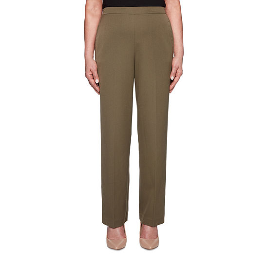 Alfred Dunner Cedar Canyon Womens High Waisted Straight Pull-On Pants